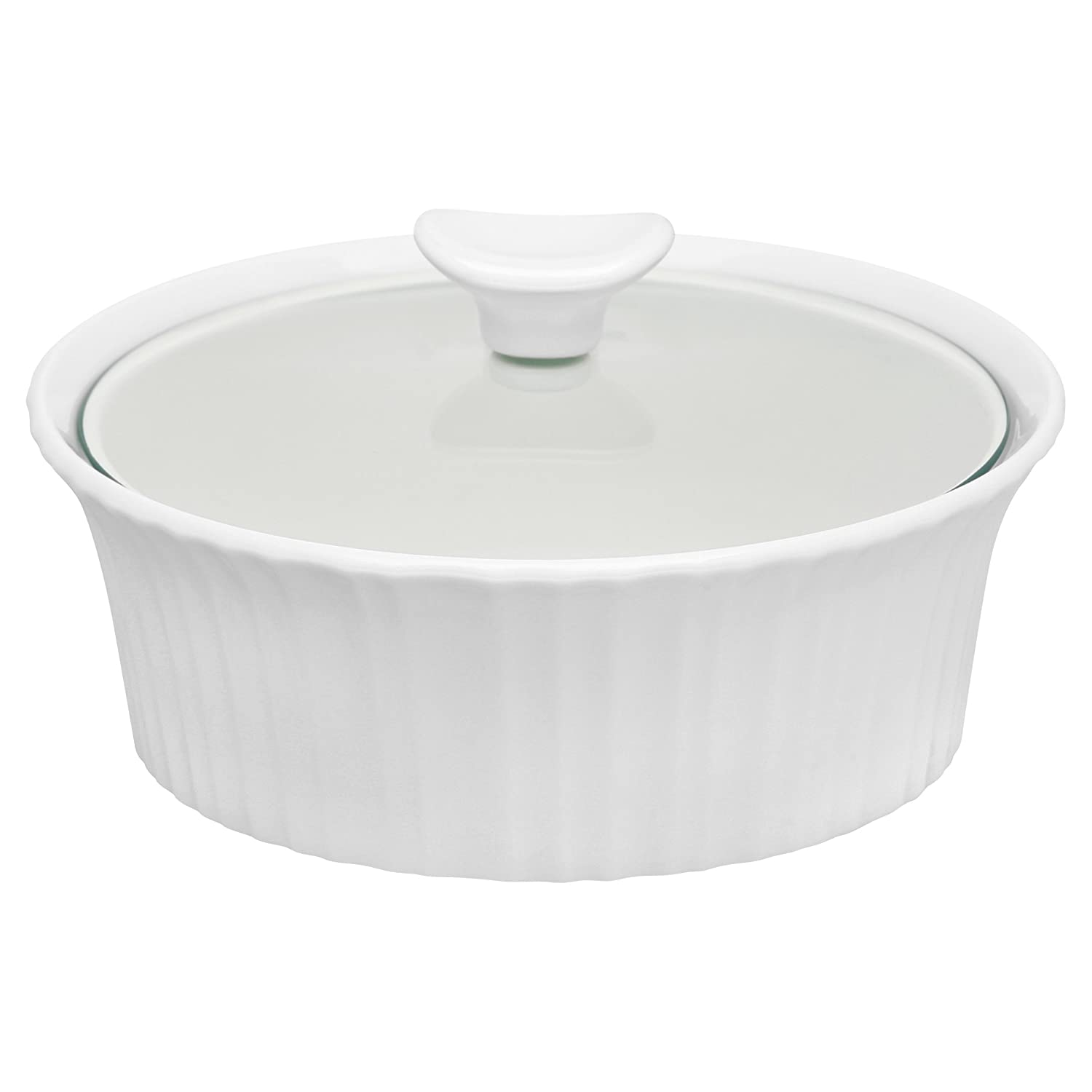 CorningWare French White 1.5-Quart Round Casserole with Glass Lid