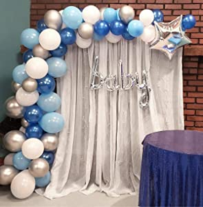 Balloon Garland Arch Kit Blue and White Silver 16Ft Long 100pcs Balloons Pack For Boy Baby Shower Birthday Party Centerpiece Backdrop Background Decorations