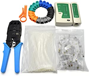 Maxmoral 6 in1 Network Tool Kit - Cable Connectors Crimper, Network Cable Tester Detector,Network Wire Stripper,Cat6 RJ45 Connector Plug,Nylon Cable Ties,RJ45 Connector Boots Cover