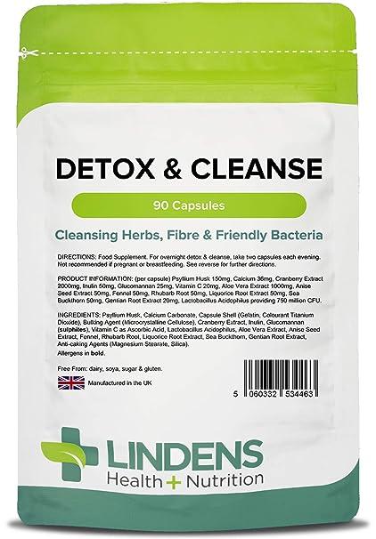 Lindens Cápsulas detox y limpiadoras | 90 Paquete | Fortalecidas con fibra dietética, bacterias amables