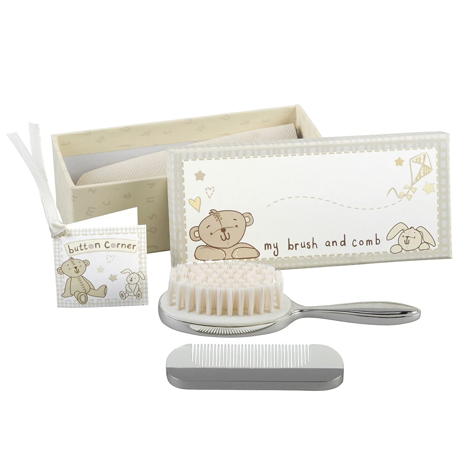 Button Corner Baby Brush & Comb Set