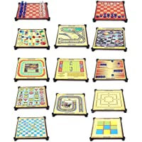 NMJ Latest 13-in-1 Games for Family, Chess, Backgammon, Ludo, Tic-Tac-Toe, Snakes & Ladders,Checkers, 9 Men's Morris, Travel Bingo, Football, Space Venture, Train Chess, Racing Game, Steeplechase