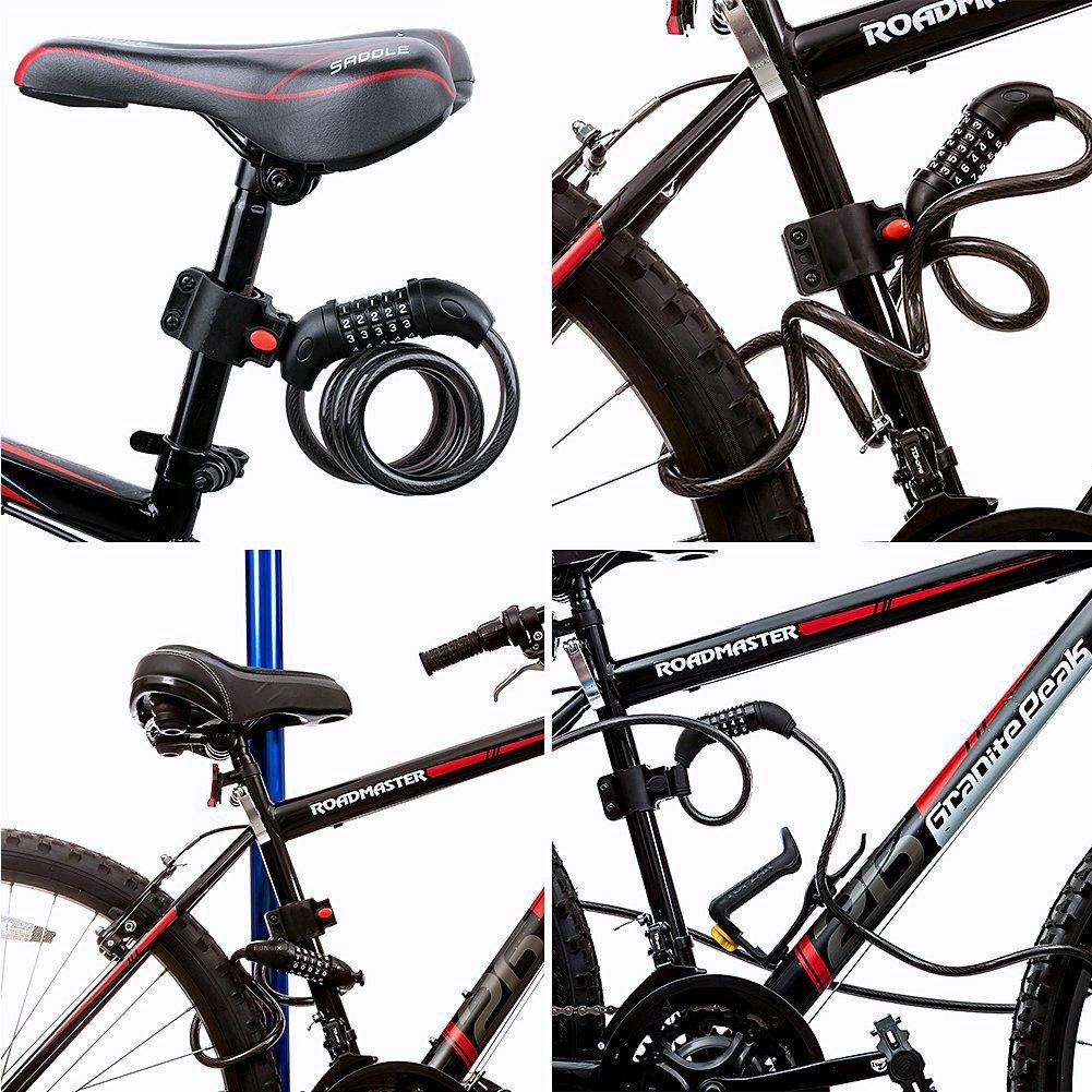 Flexibel Fahrradschloss Schwarz Draht Fahrrad Passwort Sicherheit Kabel Sport