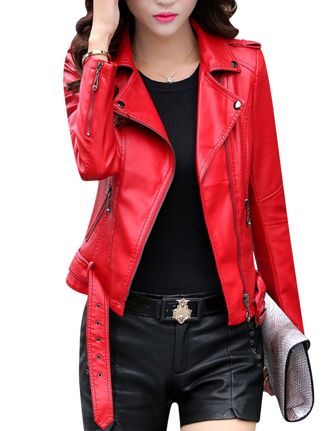Tanming Women's Classic Style Faux Leather Moto Jacket with Belt (Red, Medium)
