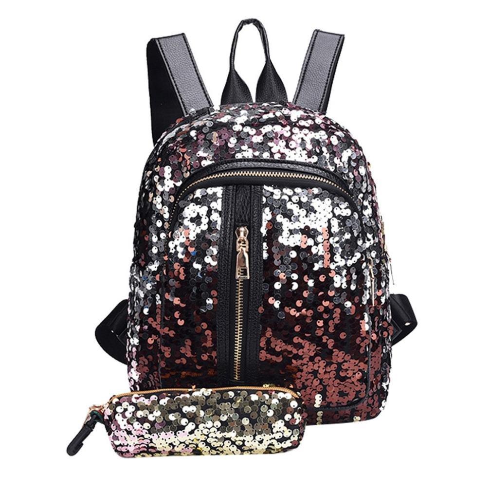 Fashion Girl Sequins Zipper Backpack Travel Bag +Clutch Wallet