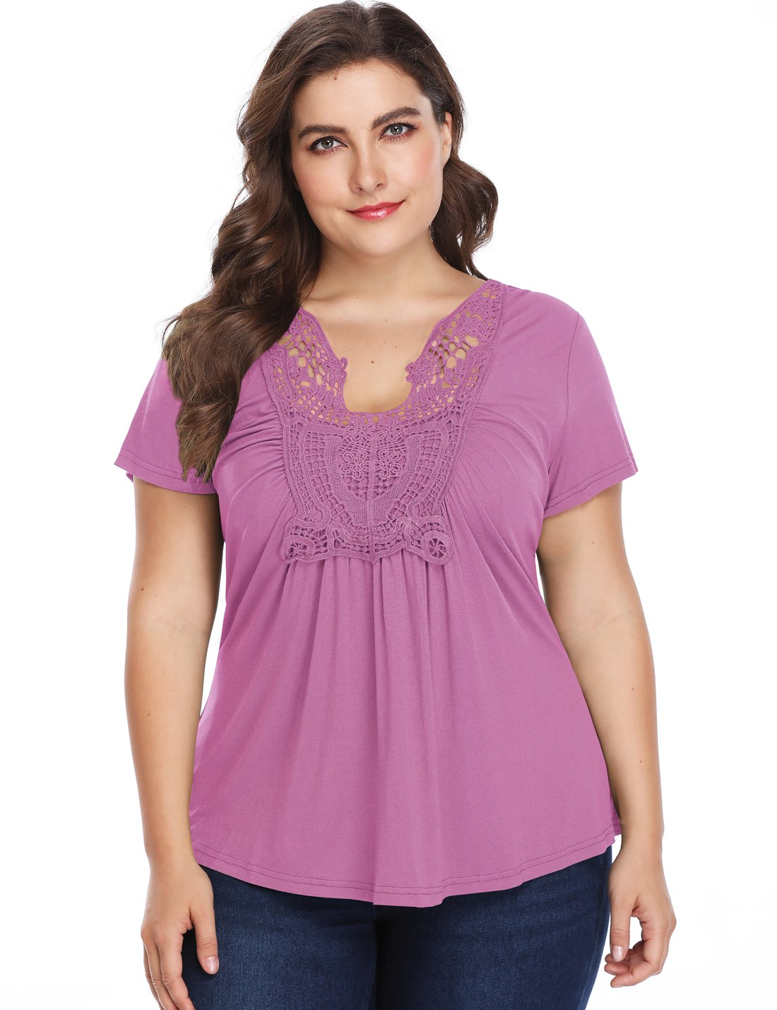 MISS MOLY Peplum Tops for Women Deep V-Neck Ruched Front Short Sleeve Ruffle Casual Blouse Peasant Shirt (XS~4XL) (2X-Large/US-20, Lilac(Plus Size))