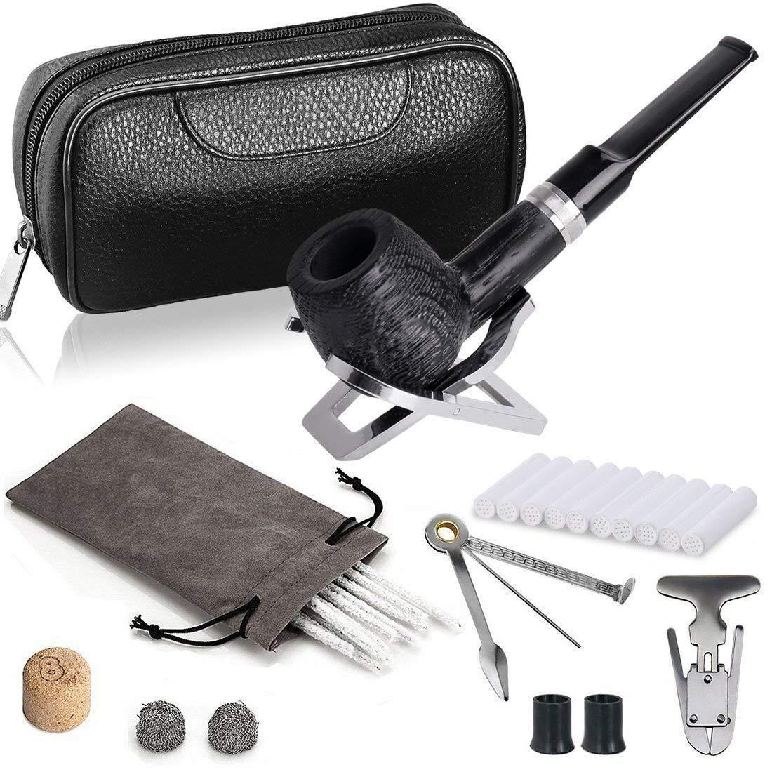 DIMJ Tabacco Pipa Kit - Quercia Tabacco Pipa con Pelle Portatabacco, Acciaio Inossidabile Pipa Supporto e Pipa Accessori Joyoldelf