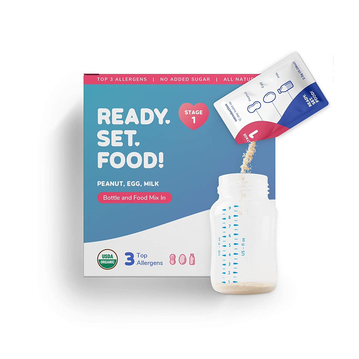 Early Allergen Introduction System for Babies 4+ Mo | Stage 1 - 30 Days | Safe, Easy & Effective | Top 3 Allergen Intro (Organic Peanut Egg Milk) | Mix into Bottle or Food | Ready Set Food