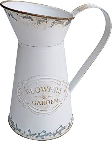 Soyizom Rustique Galvanis/é Tain Lait Peut Style Style Vase en M/étal Pichet Jug Pot pour Vintage Farmhouse Pays Primitive D/écor /À La Maison