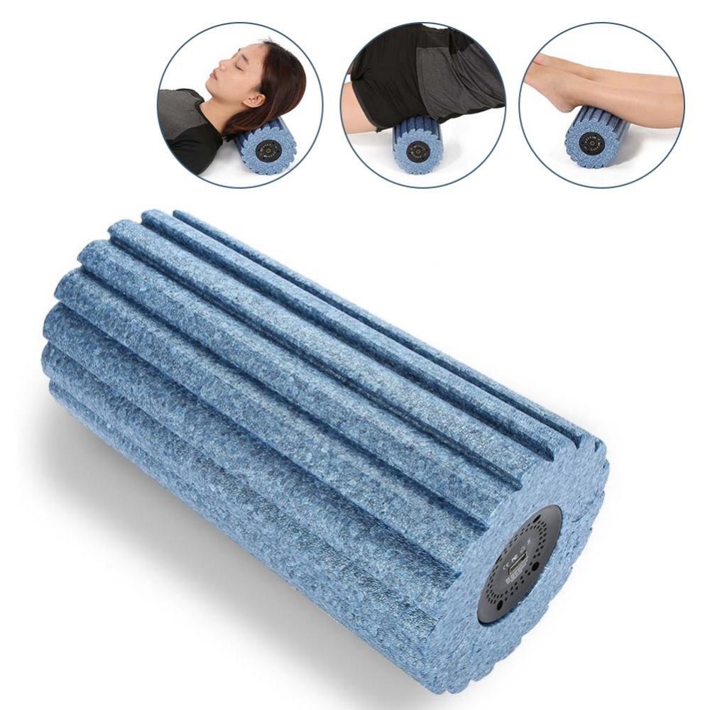 Rodillo de masaje, 5 velocidades de alta intensidad vibrante Rodillo de espuma Masaje de yoga, liberación miofascial, alivio del dolor para el corredor Footba(azul) liberación miofascial Yotown