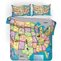YYHQHE World Map Bedding Set Bed Sheet Sets Duvet Cover Pillow Case 3pcs Queen King Twin Size 3D Digital Printing Home Textile