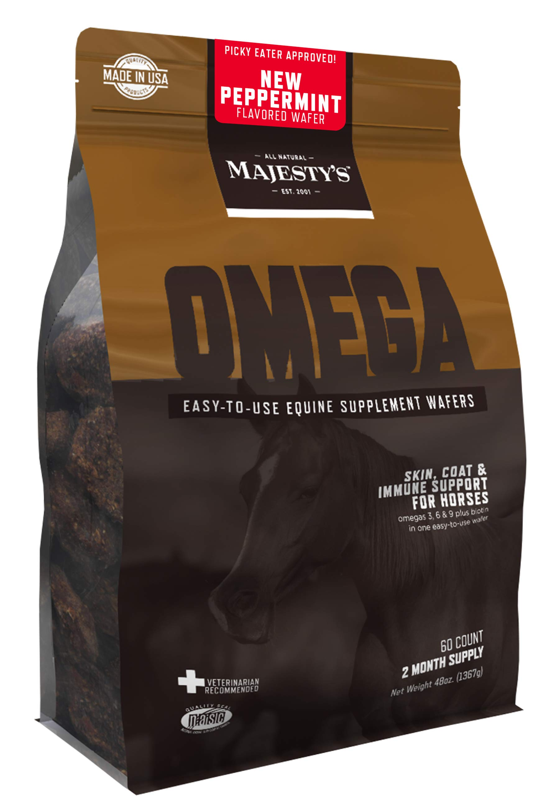 Majesty's Omega Peppermint Wafers - Horse/Equine Skin, Coat, Immune Support Supplement - Omega 3, 6, 9, Biotin - Anti-Inflammatory, Improves Immune/Digestive System - 2 Month Supply (1 Bag/60 Count) by Majesty's