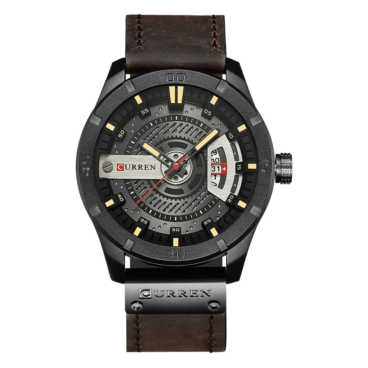 Curren Hombres Reloj de Cuarzo analógico, Reloj de Pulsera de Estilo Militar multifunción, Resistente al Agua, con Correa de Cuero y Pantalla de Fecha 8301