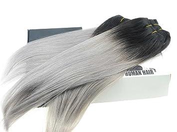 Amazon black grey hair weave two tone ombre 1bsilver gray black grey hair weave two tone ombre 1bsilver gray brazilian human hair weaving straight pmusecretfo Image collections