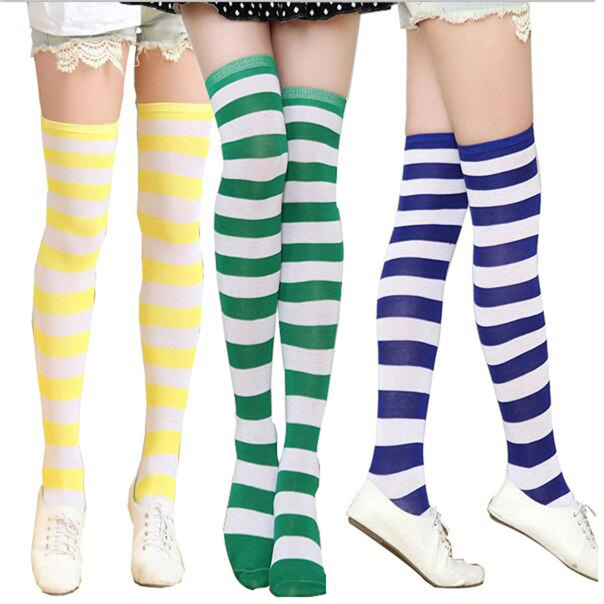 5d6d5a5f77607 3 Pairs Women Long Striped Thigh High Socks Over Knee Stockings at Amazon  Women's Clothing store: