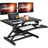SIMBR Standing Desk with Height Adjustable Stand Up Desk Converter Sit to Stand Desk Riser Computer Workstation