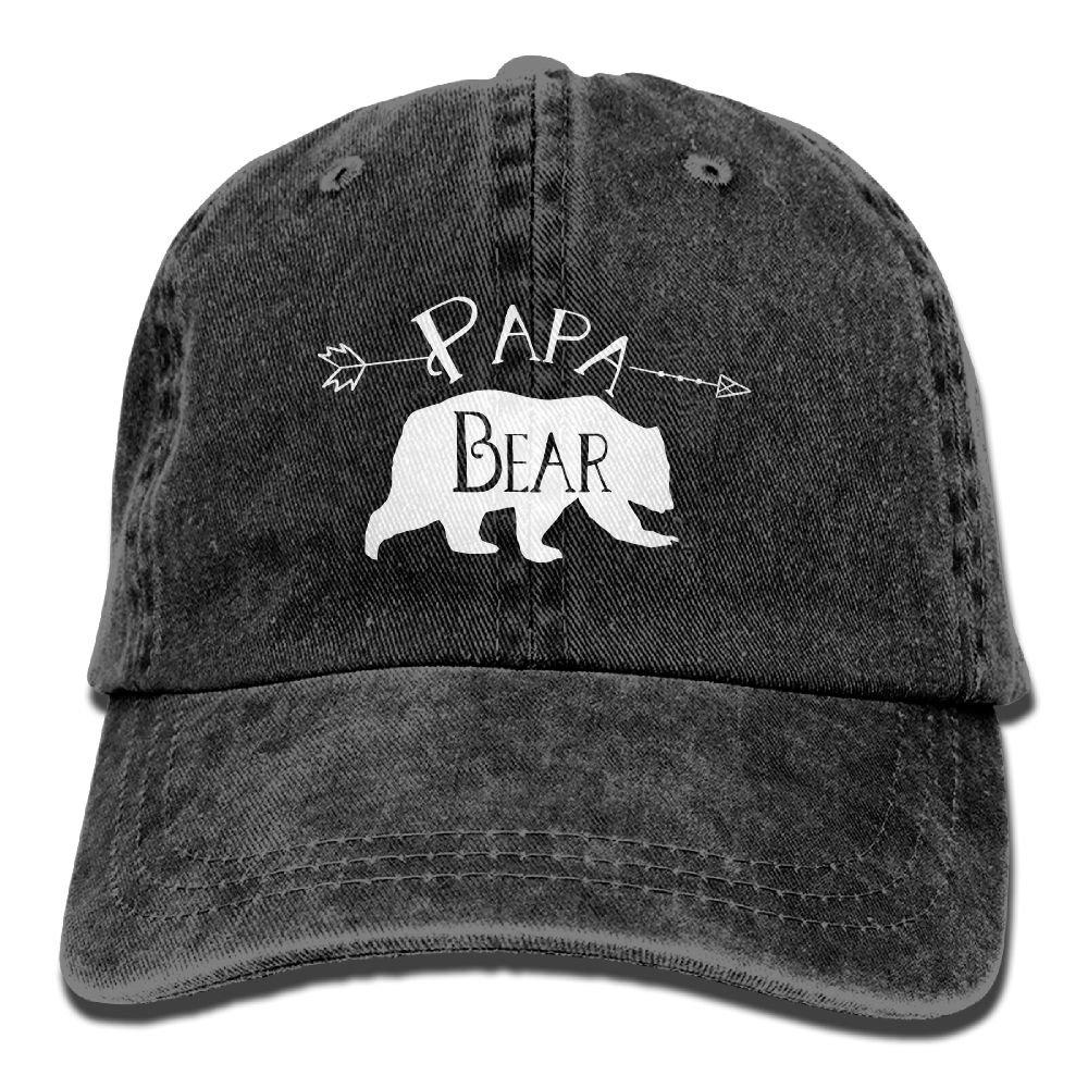 2bb6e1e6c XILI-HUALA Mens PAPA Bear Arrow Father Day Vintage Washed Denim Cotton  Baseball Cap Adjustable