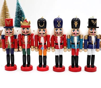 tsg global 6pcs wood nutcracker christmas lucky zakka christmas nutcracker decorations ornaments drawing walnuts soldiers band - Nutcracker Christmas Decorations