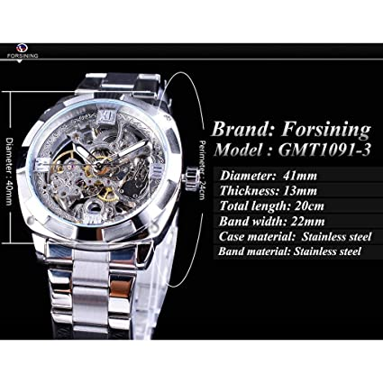 Amazon.com : XBKPLO Quartz Watches Mens Luxury Transparent Dial Waterproof Automatic Winding Mechanical Watches Multifunction Temperament Steel Strap High ...