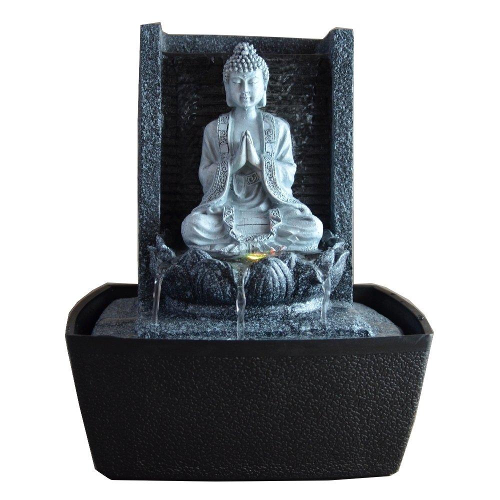 Zenarôme,Fontanella Decorativa da Interni Buddha Lotus, con Illuminazione LED, 26 cm (Altezza) Zen' Light SCFRB1