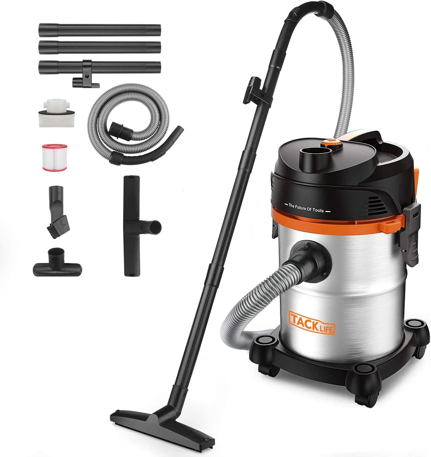 3 in 1 Shop Vac Sofa PVC05B 6 Peak HP Garden Tacklife Stainless Wet Dry Vacuum 6 Gal Hard Floor Suitable for Garage Powerful Suction