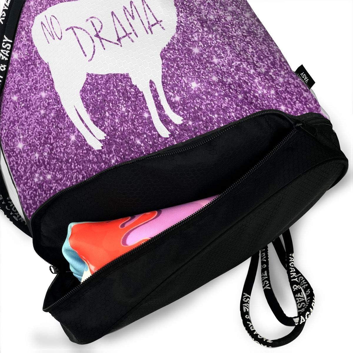 Drawstring Backpack No Drama Llamas Gym Bag