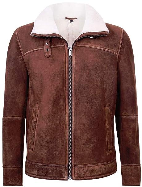 Infinity Leather Chaqueta de Aviador de Cuero Bomber de Piel ...