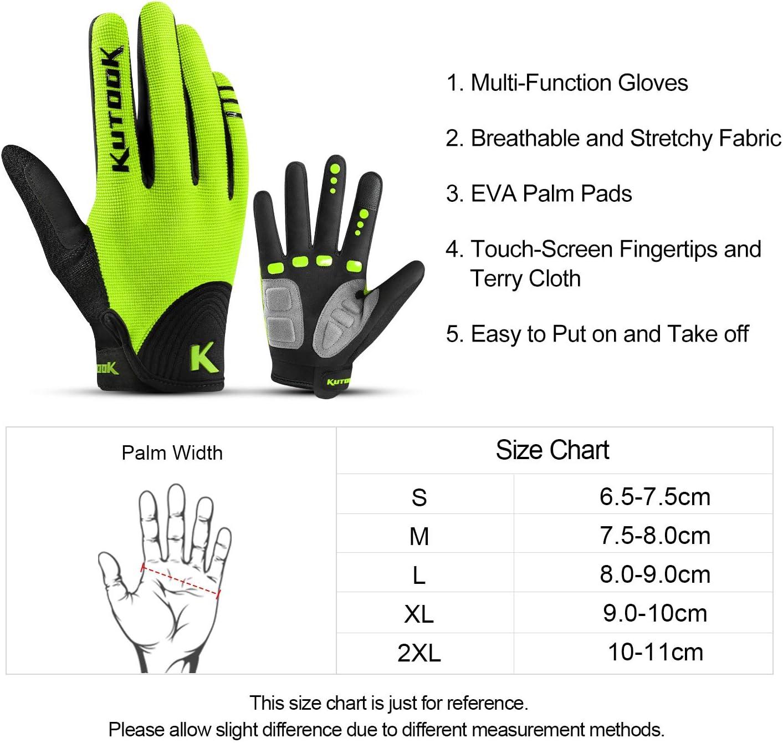KUTOOK MTB Handschuhe Herren Damen Fahrradhandschuhe Sto/ßd/ämpfende rutschfeste Elastische Touchscreen Handschuhe M/änner F/ür Radfahren Laufen Wandern Radsport Downhill