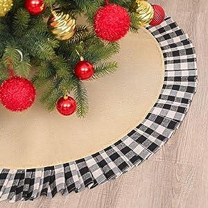 YFZYMM Christmas Tree Skirt 48 inch Large, Black White Checkered Ruffle Decors, Buffalo Plaid Tree Skirt for Christmas Decorations,Checked Tree Mat for Xmas Holiday Party Decorations