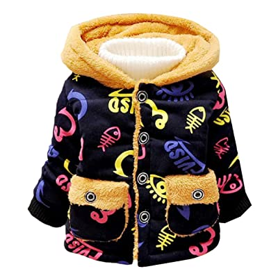 Abetteric Kids Cartoon Winter Hoodies Floral Pocket Pea Coat Jacket