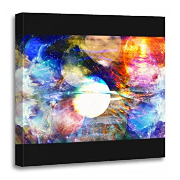 Torass Canvas Wall Art Print Psychedelic Galaxy Abstract Acid Trippy Trip Space Artwork For Home Decor 20 X 20