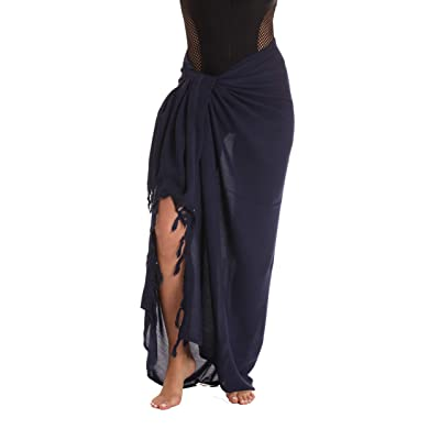Riviera Sun Sarong Swimsuit Cover Up for Women 21978-NVY Navy - Solid at Women's Clothing store