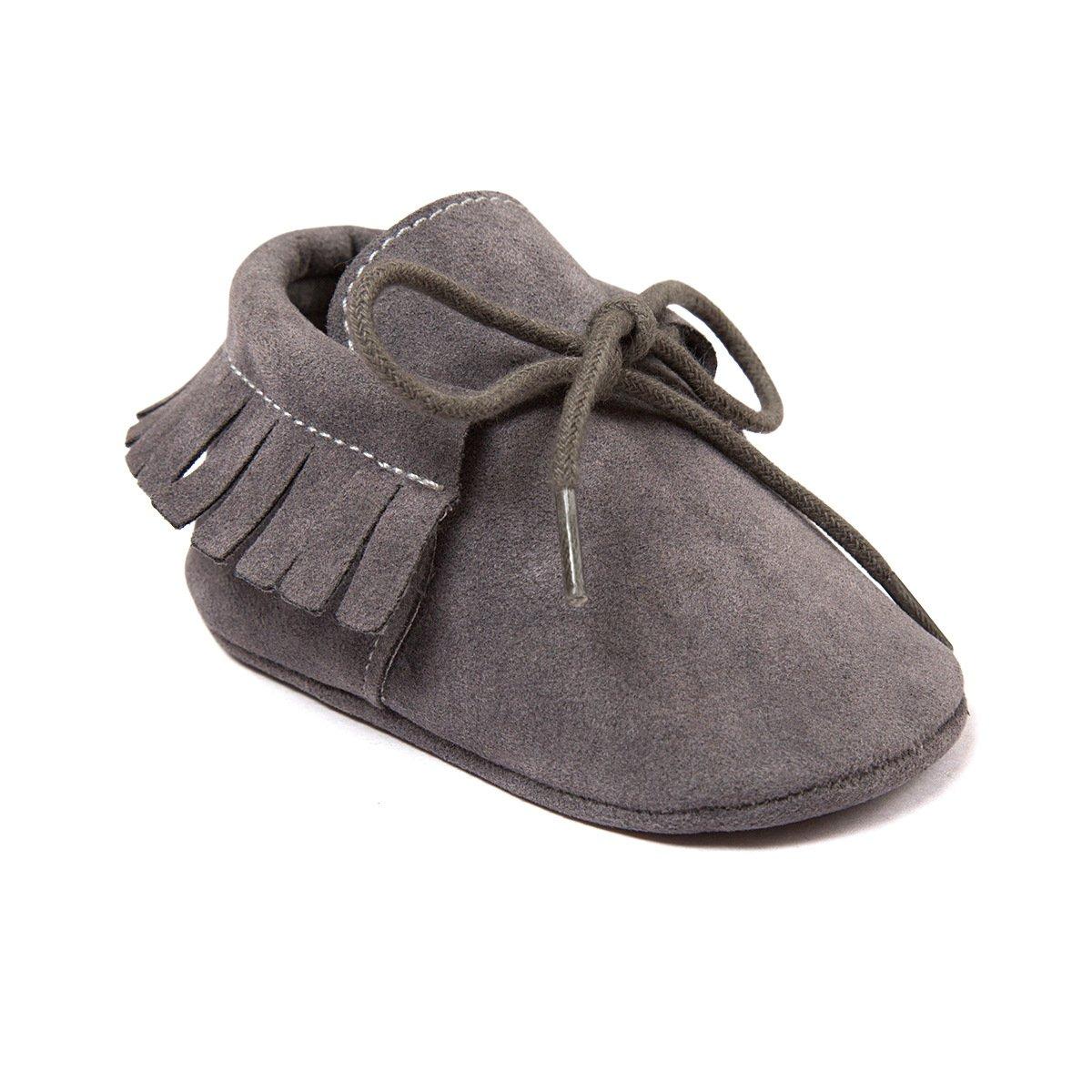 Auxma Baby Mädchen Junge Wiege-Quasten-weiche alleinige einzelne beiläufige Schuhe (11cm/0-6 Monate, Khaki)