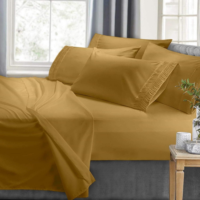Hebel Bed Sheet Set with Luxury Arrow Design 6 Piece Bedding Set 100% Soft Microfiber   Model SHTST - 2075   Full