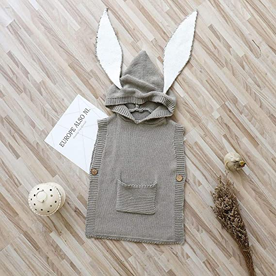 5dff2a9ea Amazon.com: Clearance Sale 6-24 Months Baby Girl Boy Hooded Cartoon Bunny  Ear Knit Sweaters Vest Coat Winter Warm Tops with Pockets: Clothing