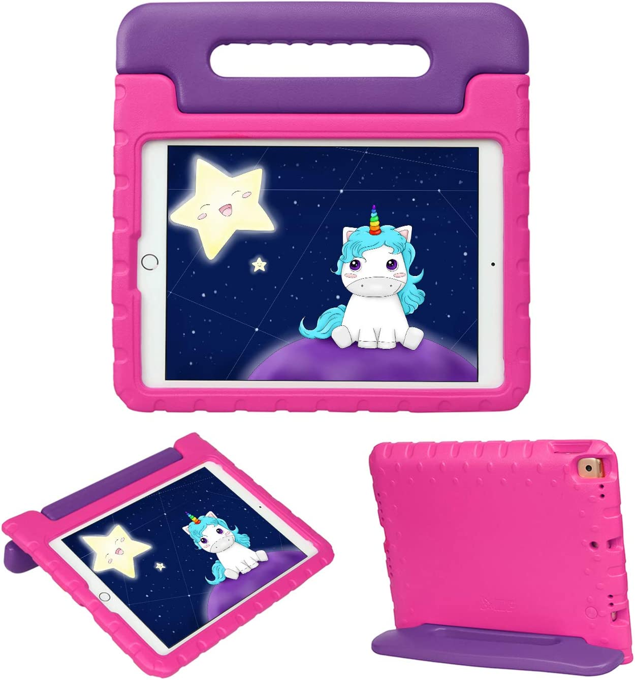 HDE iPad 8th Generation Case for Kids – Shock Proof iPad Cover 7th Generation 10.2 - iPad 10.2 Kids Case with Handle Stand for 7th/8th Generation Apple iPad - Purple Pink