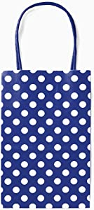 12CT Small Royal Blue Polka DOT Biodegradable, Food Safe Ink & Paper, Premium Quality Paper (Sturdy & Thicker), Kraft Bag with Colored Sturdy Handle (Small, P.Royal Blue)
