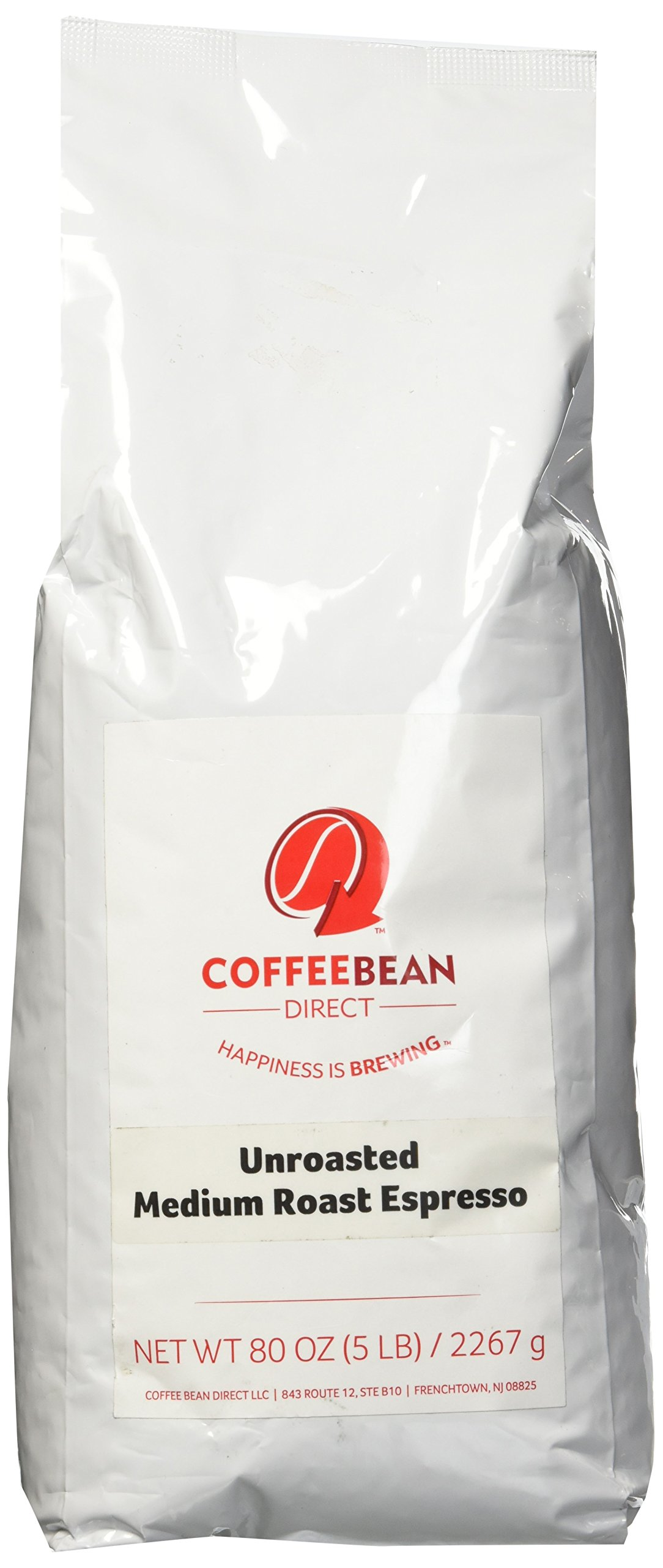 Green Unroasted Medium Espresso Blend, Whole Bean Coffee, 5-Pound Bag by Coffee Bean Direct