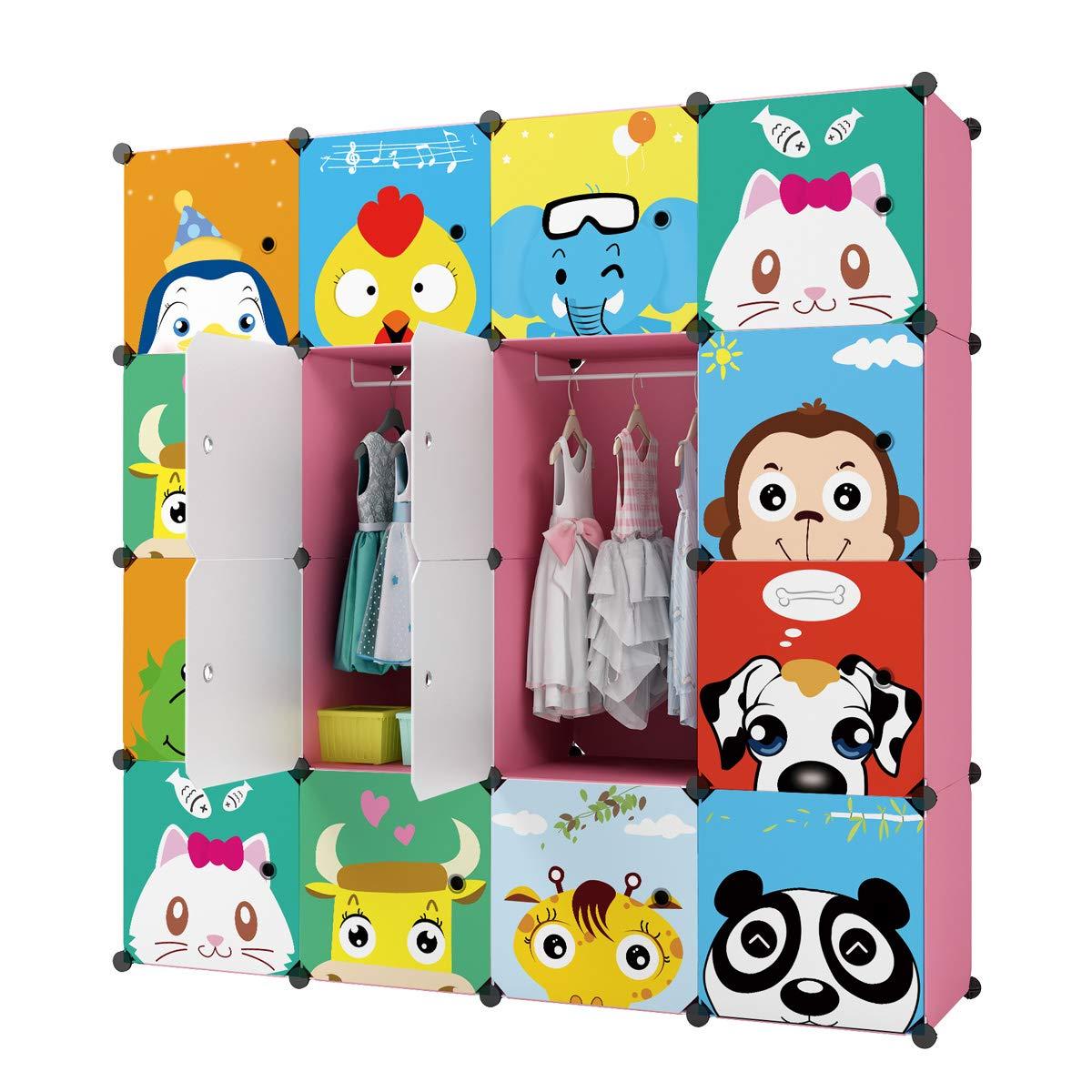 KOUSI Portable Kids Wardrobe Closet Children Dresser Hanging Storage Rack Clothes Closet Bedroom Armoire Cube Organizer Formaldehyde-Free Furniture (Pink, 12 Cubes & 2 Hanging Sections) by KOUSI