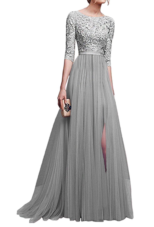 Minetom Donna Vestito Lungo Abito Da Cerimonia Elegante Vestiti Da Matrimonio Lunghi Formale Banchetto Sera Maxi Dress Pizzo QL180418-YW-DE11