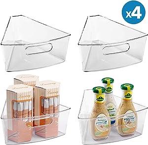 "Lazy Susan Organizers (4 Packs), 10""x9.4""x4"" Plastic Transparent Kitchen Cabinet Storage Bins, 4"" Deep Container, 1/8 Wedge - Food Safe, BPA Free"