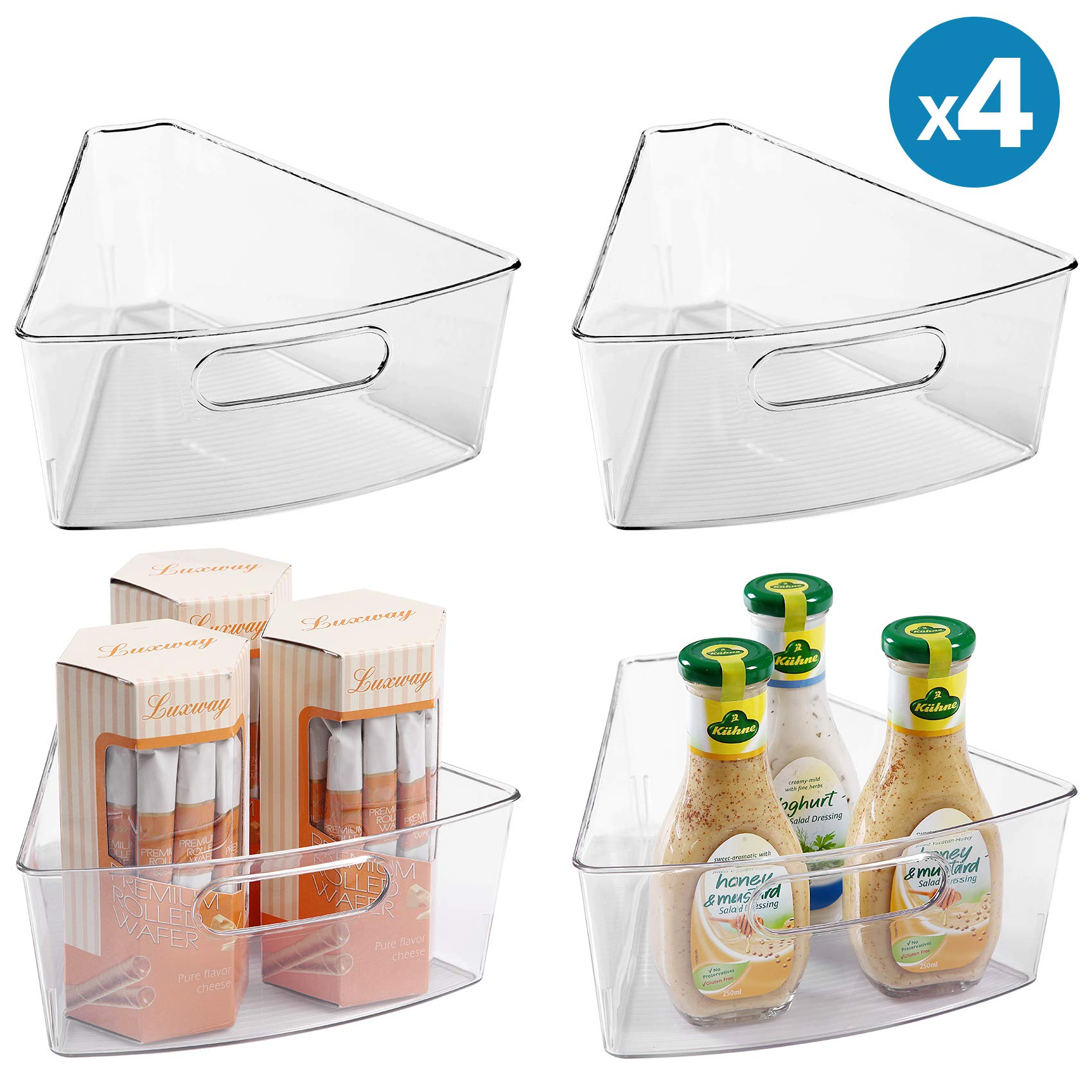 Lazy Susan Organizers (4 Packs), 10''x9.4''x4'' Plastic Transparent Kitchen Cabinet Storage Bins, 4'' Deep Container, 1/8 Wedge - Food Safe, BPA Free by MoMA