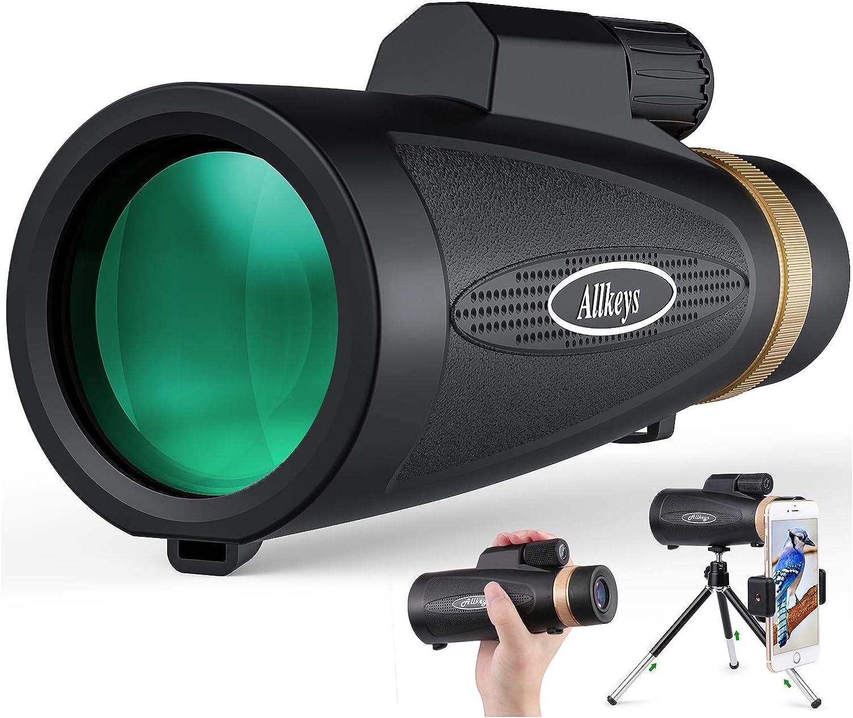 Allkeys 16x60 telescopio monocular de alta definición y soporte para smartphone rápido, monocular impermeable 2020, visión de día y noche baja, prisma BAK4 para la vida silvestre y la caza