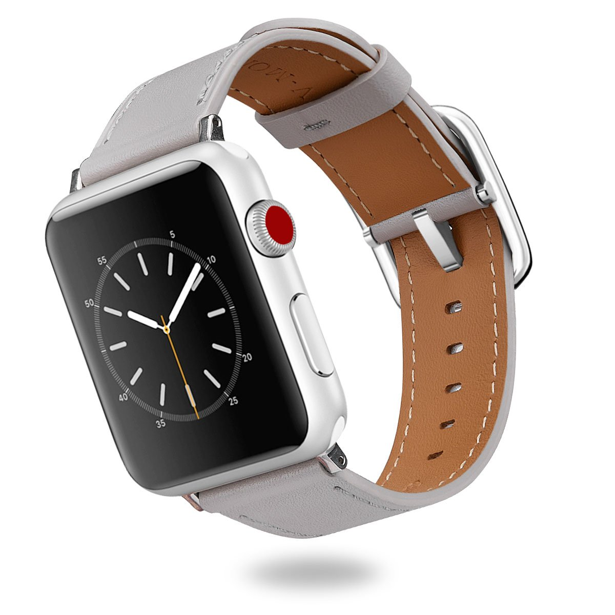 for Apple Watch Bands 38MM, V-MORO Softer Genuine Leather iWatch Band Replacement Cuff Bracelet Strap with Special Stainless Steel Buckle for Apple Watch Series 3/2/1 Sport Edition 38mm Men Women Gray