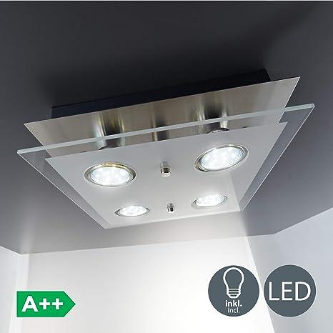BKLicht - Lámpara plafón LED de forma cuadrada con 4 focos y de cristal para interiores con diseño elegante y discreto de luz blanca cálida, 3W y 250 ...