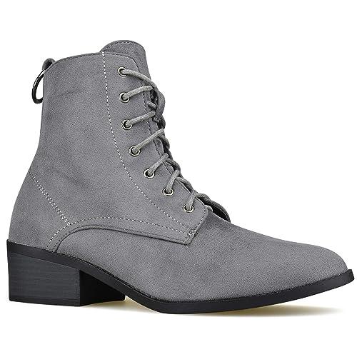 49e833a2f52 Premier Standard - Women's Round Toe Lace Up Low Heel Ankle Booties - Side  Zipper Comfortable Walking Booties