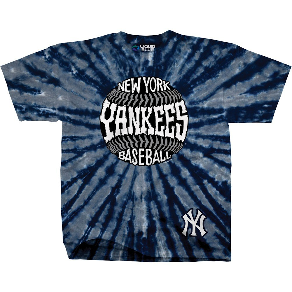 70b4bf219 Amazon.com  Liquid Blue Unisex Adult MLB Burst Tie-Dye T-Shirt - Short  Sleeve - New York Yankees - Large  Clothing