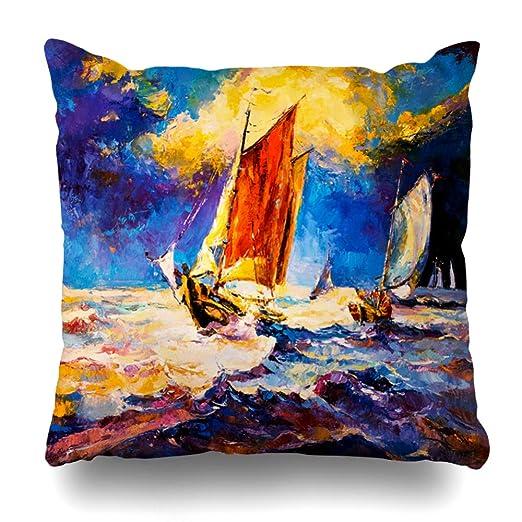 Ahawoso Funda de almohada vintage, azul abstracto acuarela ...