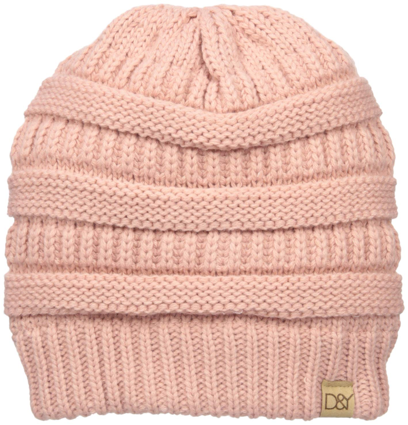 D&Y Women's David and Young's Solid Slinky Beanie, Blush, One Size