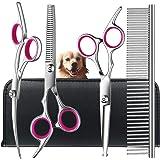 Juego de tijeras de aseo para perros con puntas redondas de seguridad, TINMARDA de acero inoxidable profesional para perros –
